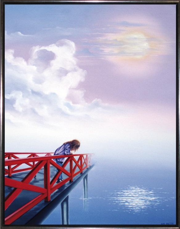 Under den røde bro, 90 x 70 cm. Solgt